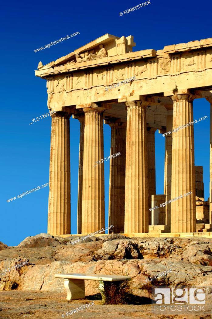 Stock Photo: The Parthenon Temple, the Acropolis of Athens in Greece.