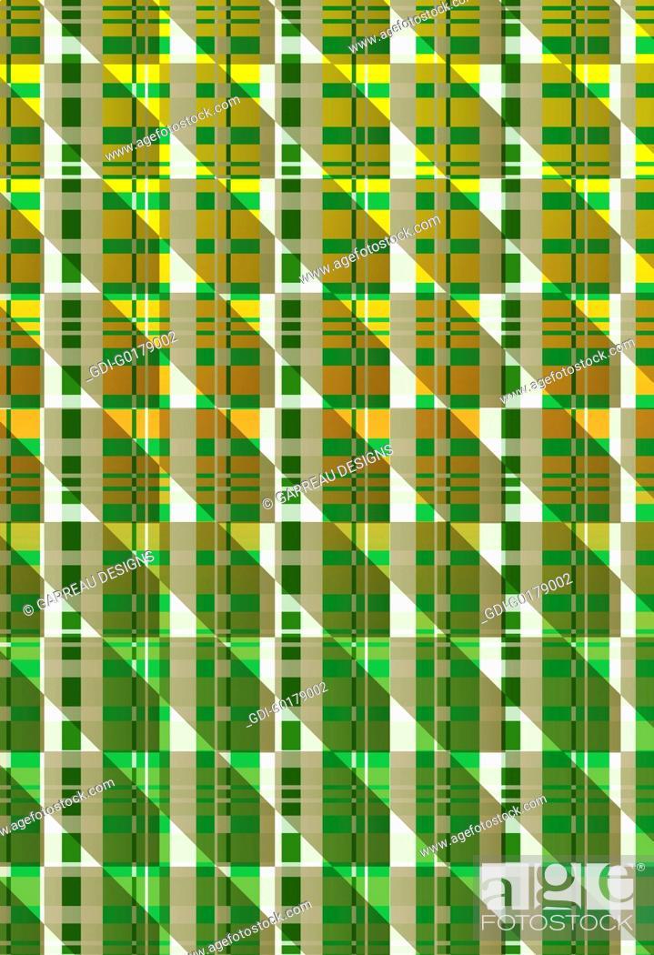 Imagen: Green and orange geometric plaid design.