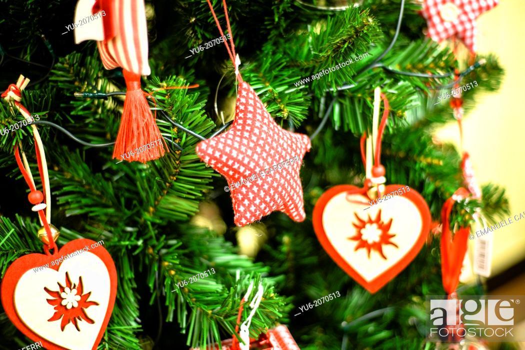 Stock Photo: Pendant Christmas, hearts and stars on the Christmas tree.