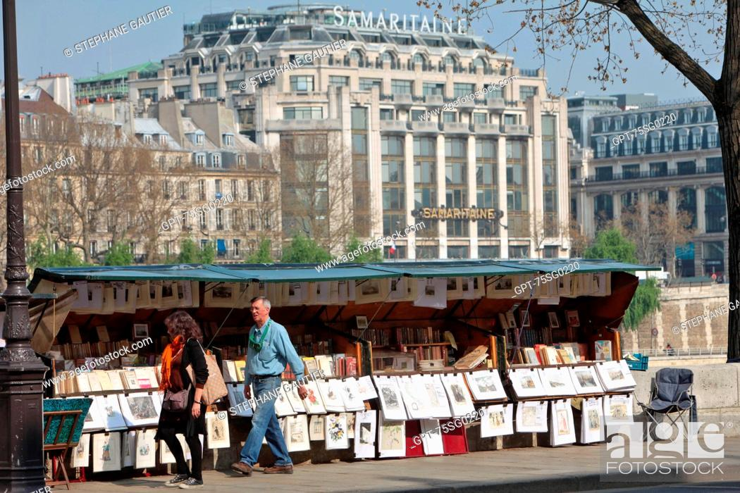 Stock Photo: USED BOOKSELLER SET UP ON THE BANKS OF THE SEINE NEAR THE SAMARITAINE, QUAI CONTI, PARIS 75, ILE-DE-FRANCE, FRANCE.
