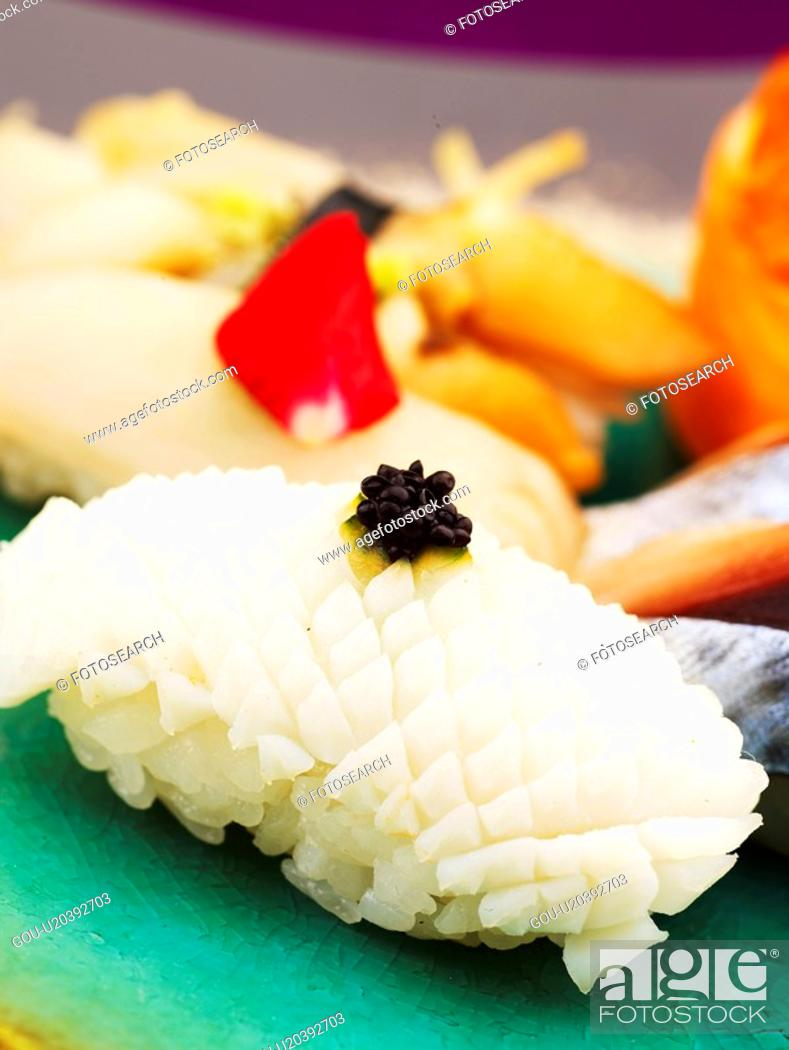 Stock Photo: cuttle fish, plate, squid sushi, decoration, food styling, food, sushi plate.