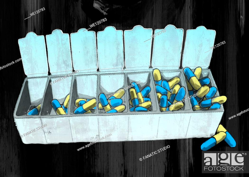 Stock Photo: Open capsules container over colored background depicting drug addiction.