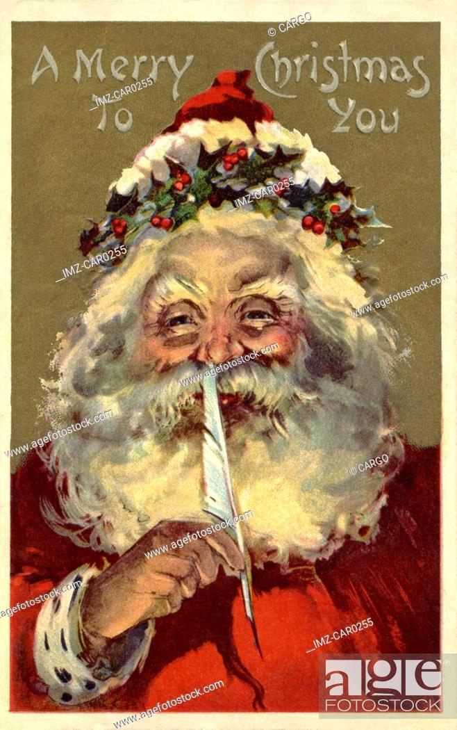 Stock Photo: Vintage Christmas postcard of Santa Claus holding a feather to his nose.