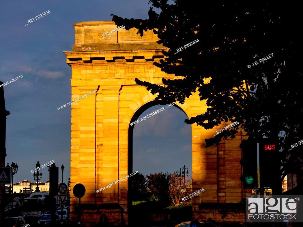 """Stock Photo: France, Nouvelle Aquitaine-Gironde- """"""""Porte de Bourgogne"""""""" gate, at Bordeaux."""