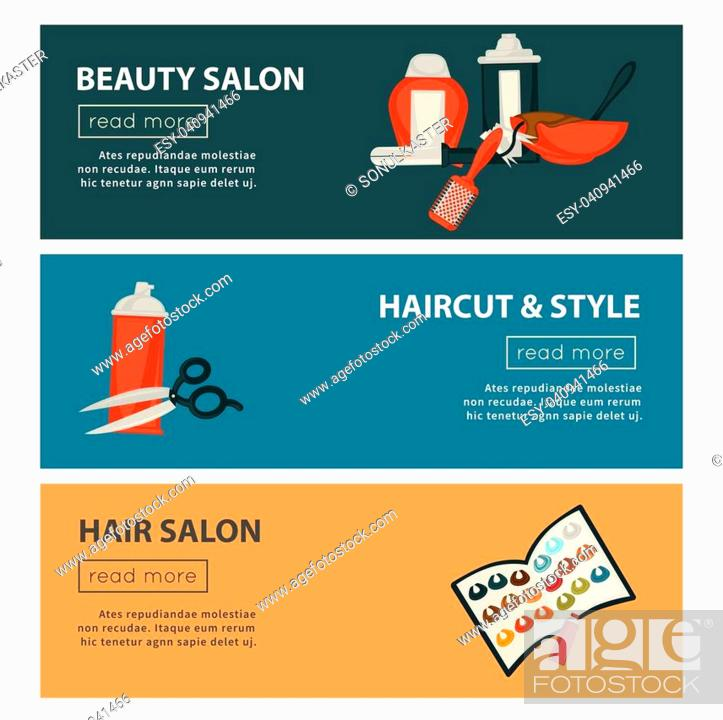 Hairdresser Beauty Salon Web Banners Flat Design Template For Hair Coloring And Perm Styling Stock Vector Vector And Low Budget Royalty Free Image Pic Esy 040941466 Agefotostock