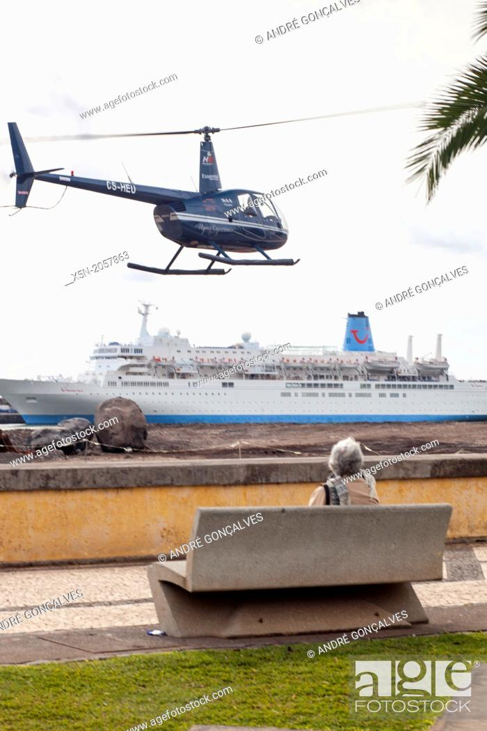 Stock Photo: Helicopter in Funchal, Madeira, Portugal, Europe.