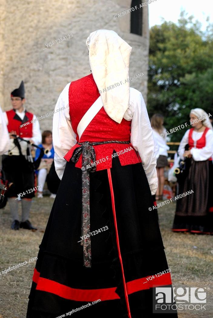 Stock Photo: Bagpipe band girl Gijon Asturias suit Fiestas de La Guia de Llanes, Asturias.