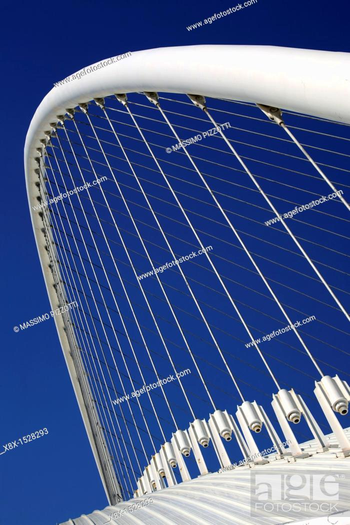 Stock Photo: Atrchitectural detail of the Olympic Velodrome by Calatrava, Athens, Greece.