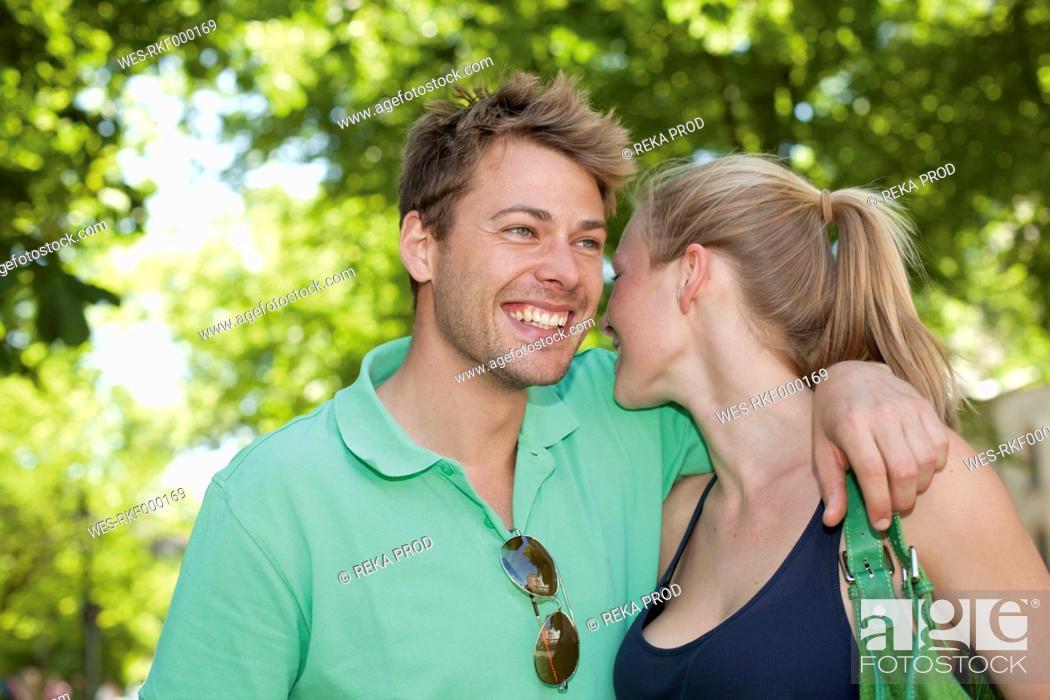 Stock Photo: Germany, North Rhine Westphalia, Duesseldorf, Couple smiling.