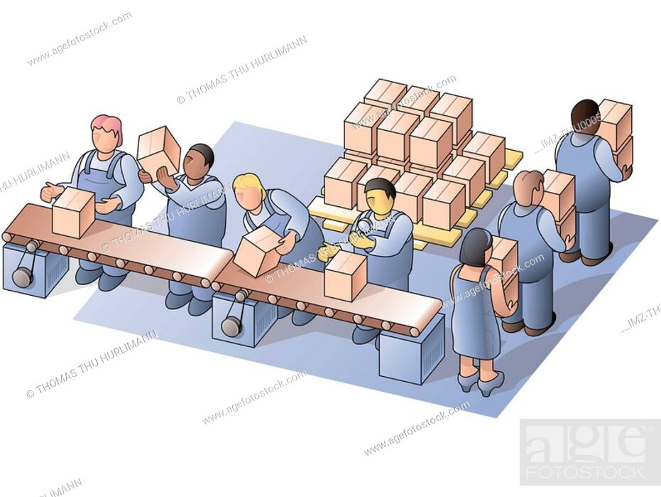 Stock Photo: Factory workers at work in the packing department.