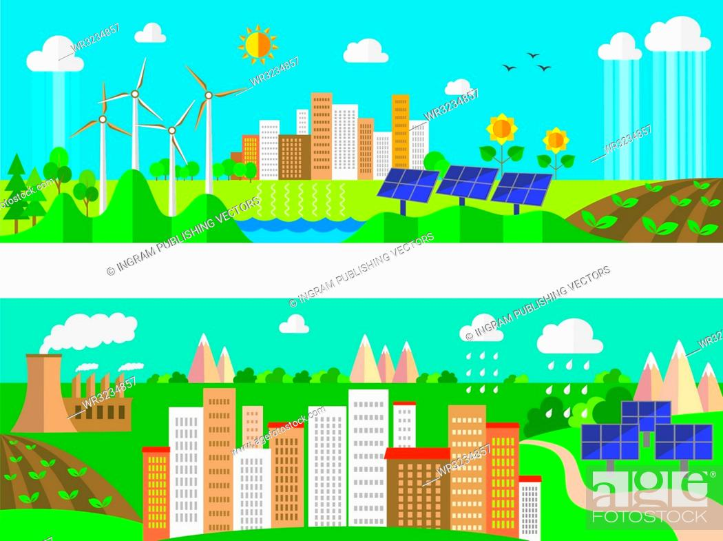 Stock Vector: Set of environment and ecology banners. Green energy and pollution.