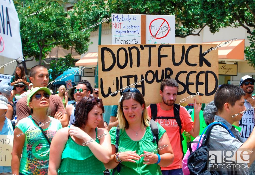 Stock Photo: anti-GMO/Monsanto march, Honolulu, Hawai'i.