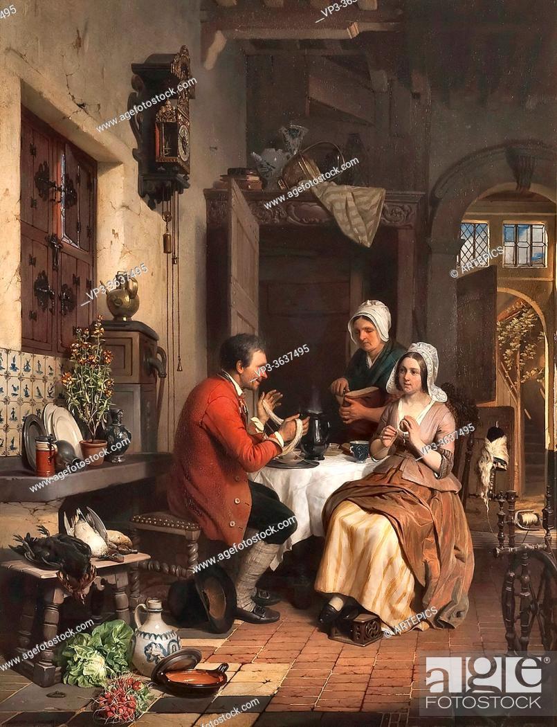 Imagen: Noter David Emile Joseph De - Keukeninterieur - Belgian School - 19th Century.