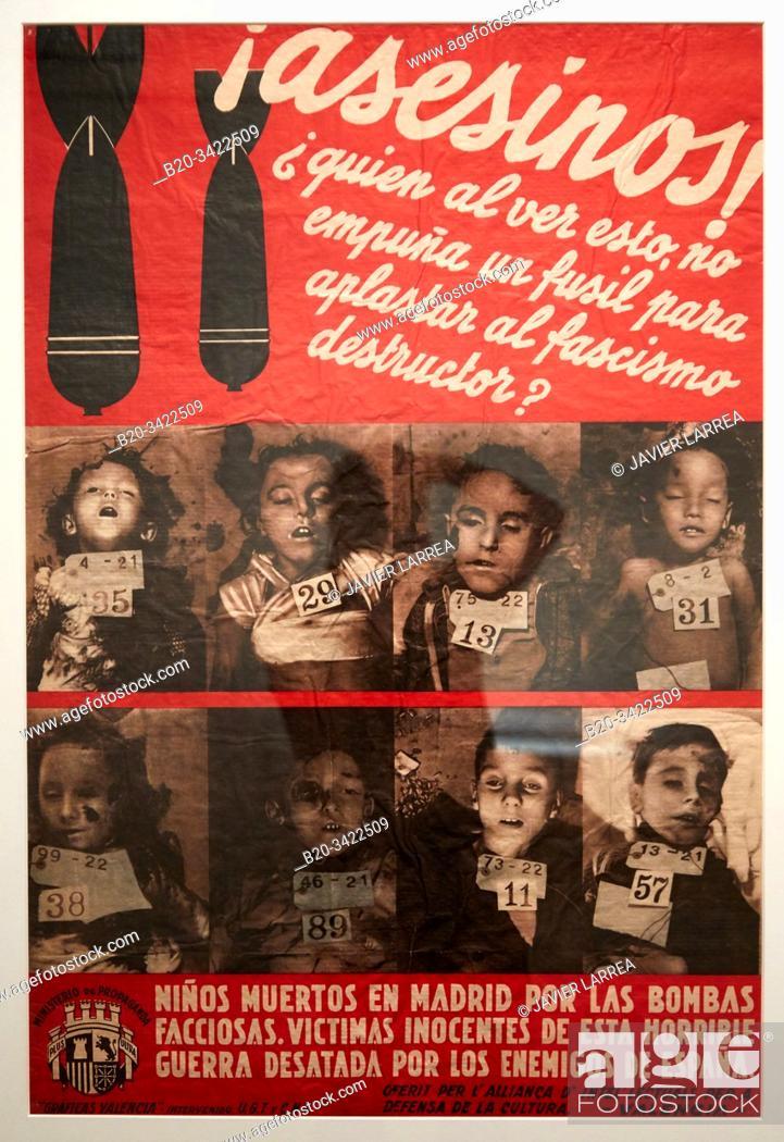 "Stock Photo: """"""¡ Asesinos ! """", 1936, Ministerio de propaganda grafica, Musée de l'Armée, Paris, France."