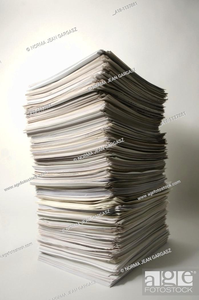 Stock Photo: A stack of white sheets of paper.