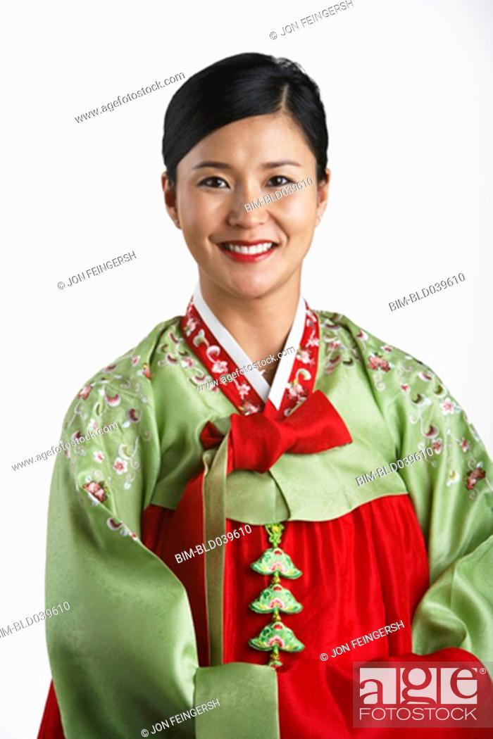 Stock Photo: Portrait of Korean woman in traditional dress.