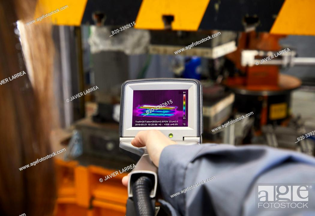 Stock Photo: Thermographic camera, Hot stamping cell, Industry Unit, Automotive Industry, Technology Centre, Tecnalia Research & Innovation, Derio, Bizkaia, Basque Country.