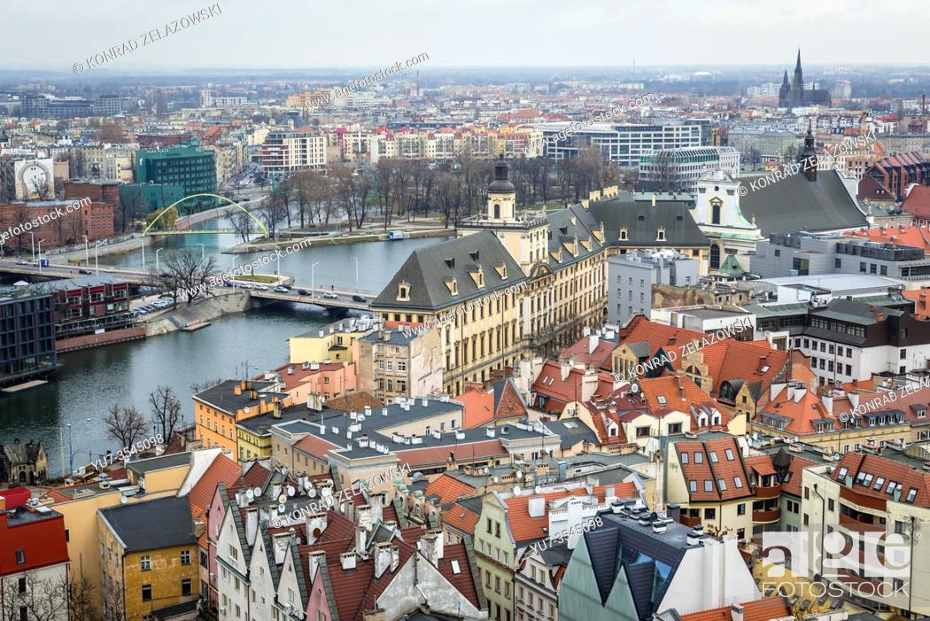 Stock Photo: Aerial view from Garrison Church in Old Town of Wroclaw, Poland - view with University of Wroclaw building.
