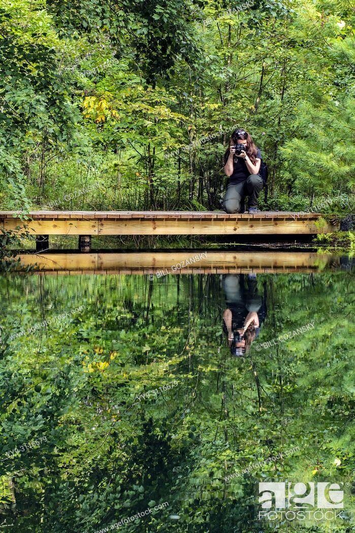 Stock Photo: Photographer at Lake Alford - Three Lakes Trail - DuPont State Recreational Forest, near Brevard, North Carolina, USA.