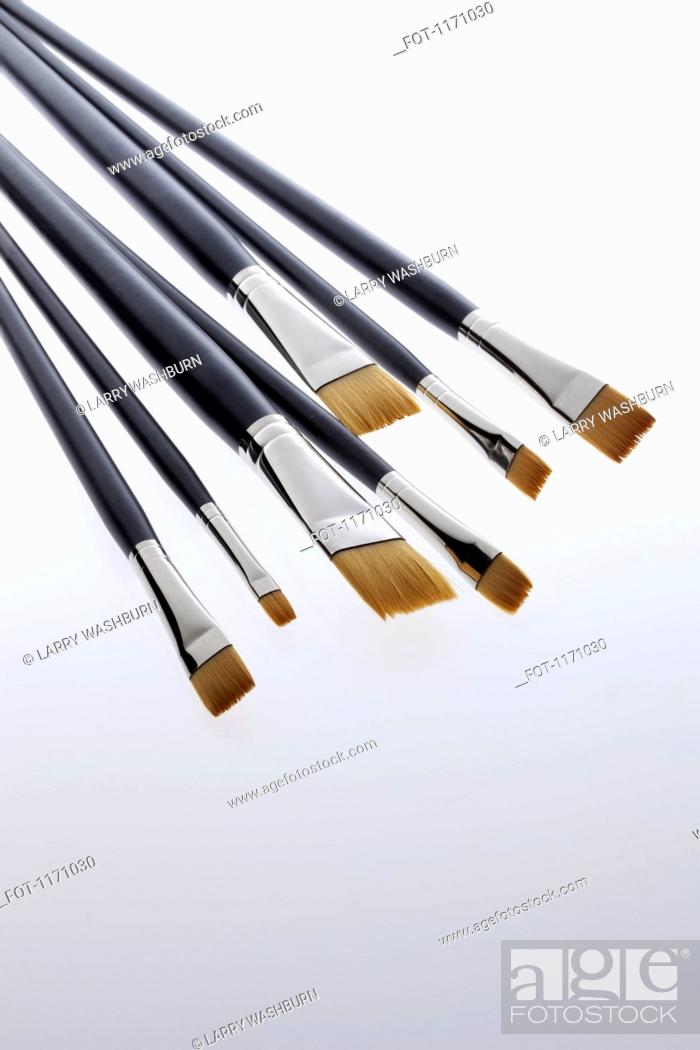 Stock Photo: Various sized artist's paintbrushes.