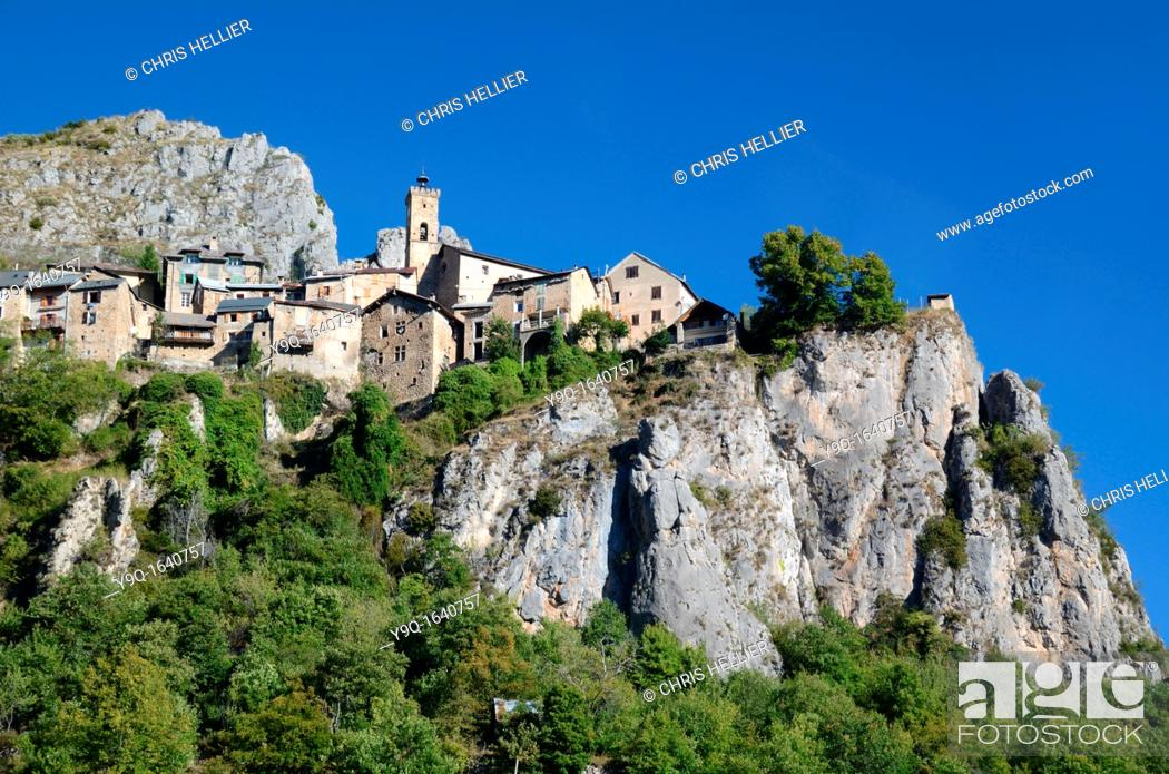 Stock Photo: Perched Village of Roubion Mercantour National Park French Alps Alpes-Maritimes France.