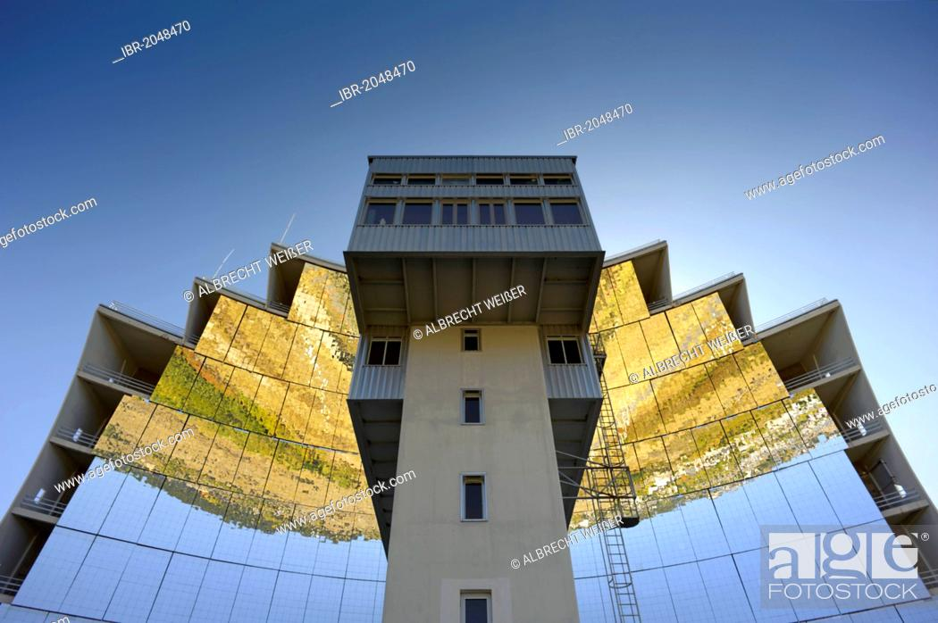 Stock Photo: Solar furnace, le Grand Four Solaire d'Odeillo, 1000 kW thermal power station, a concave mirror with absorber, Font-Romeu-Odeillo-Via, Pyrénées-Orientales.