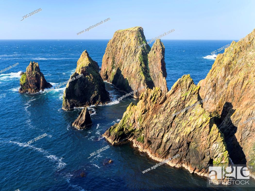 Stock Photo: Landscape on West Shetland. the cliffs between Silwick and Westerwick. Europe, Great Britain, Scotland, Northern Isles, Shetland, May.