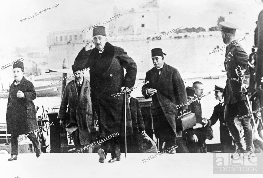 Stock Photo: Former Turkish Sultan Mehmed VI (Mohammed VI) arrived in Malta on British warship. Dec. 9, 1922. The Turkish Grand National Assembly abolished the Sultanate on.
