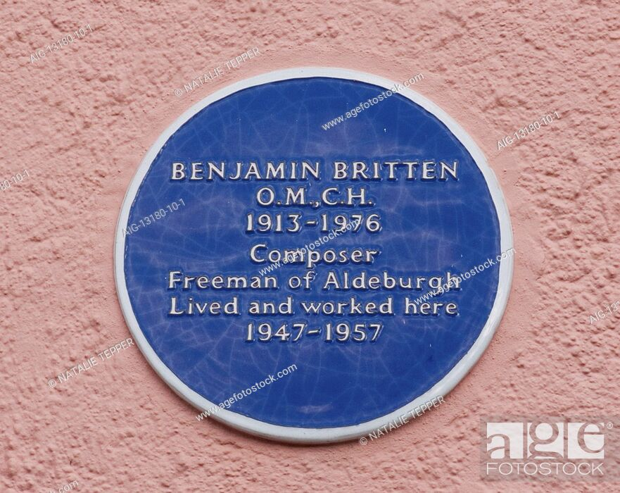 Stock Photo: Blue plaque showing location of composer Benjamin Britten's place of residence and work, Aldeburgh, Suffolk, England.