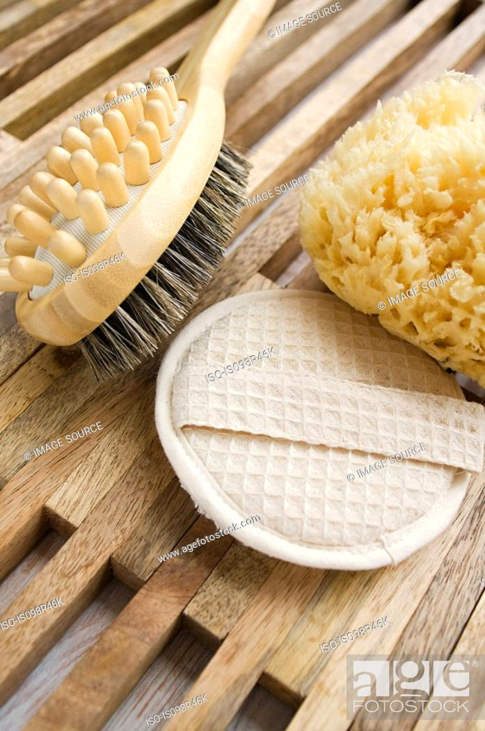 Stock Photo: Massage brush loofah mitt and sponge.