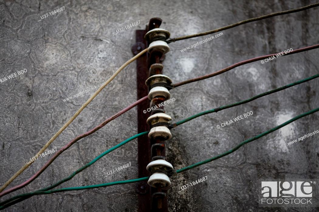 Stock Photo: Old electric wiring at Jiexi old village, China.