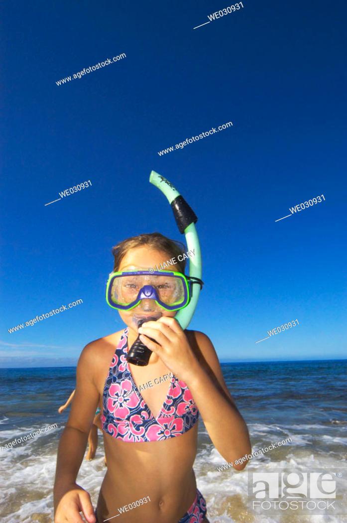 Stock Photo: Snorkel girl.