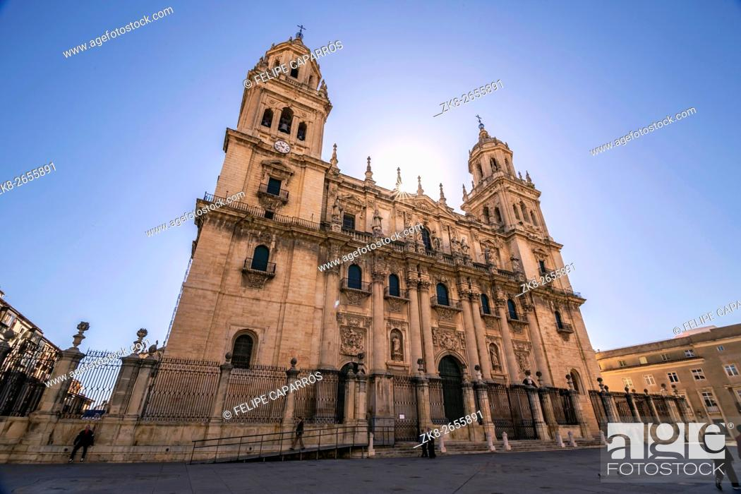 Stock Photo: Main facade of Jaen Cathedral in a sunny day, It is a Spanish Renaissance cathedral located in Santa Maria Square in Jaen, Spain, take in Jaen, Spain.