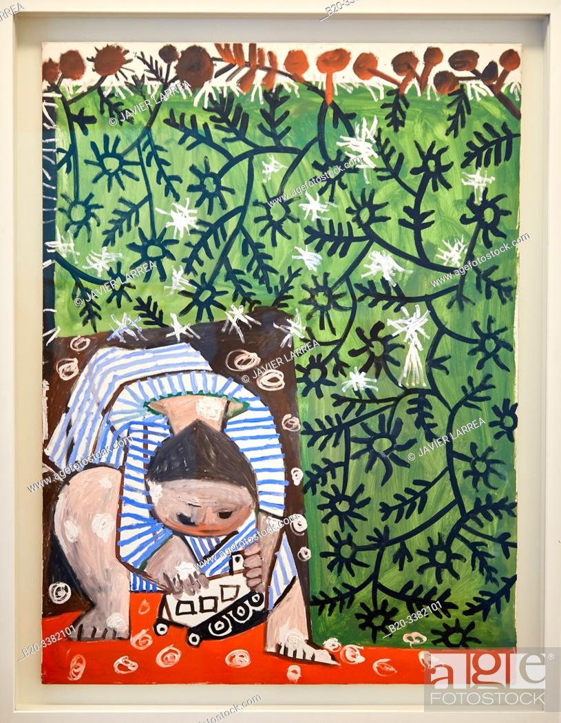 """Stock Photo: """"Enfant jouant avec un camion"""", 1953, Pablo Picasso, Picasso Museum, Paris, France, Europe."""