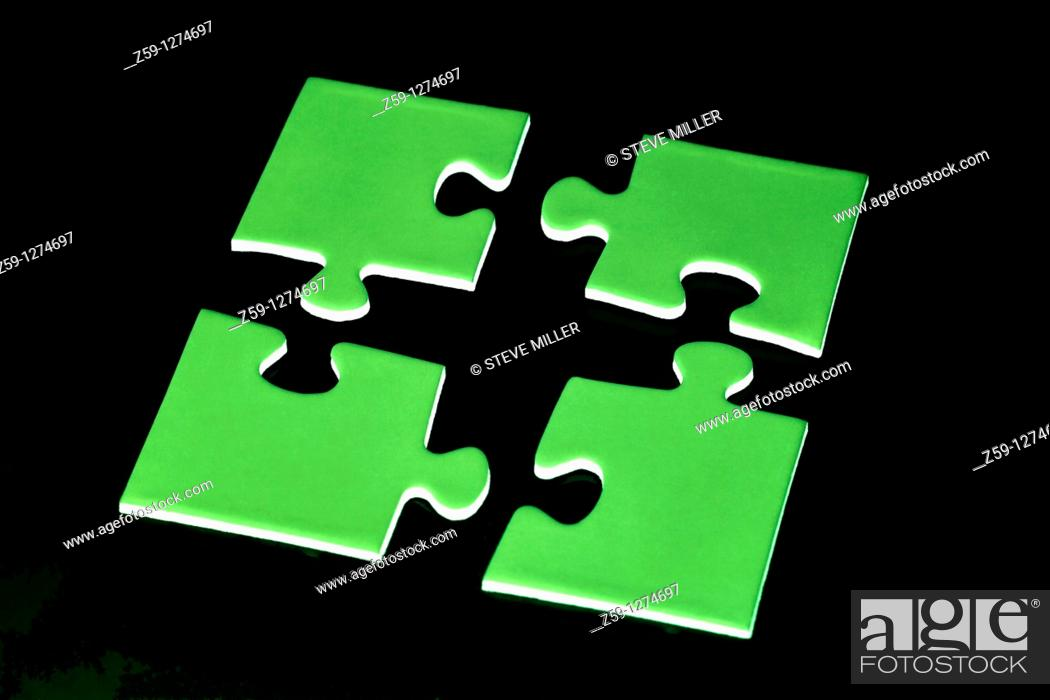 Stock Photo: digital enhancement - parts of jigsaw - symbolism for existential orientation resp  education.