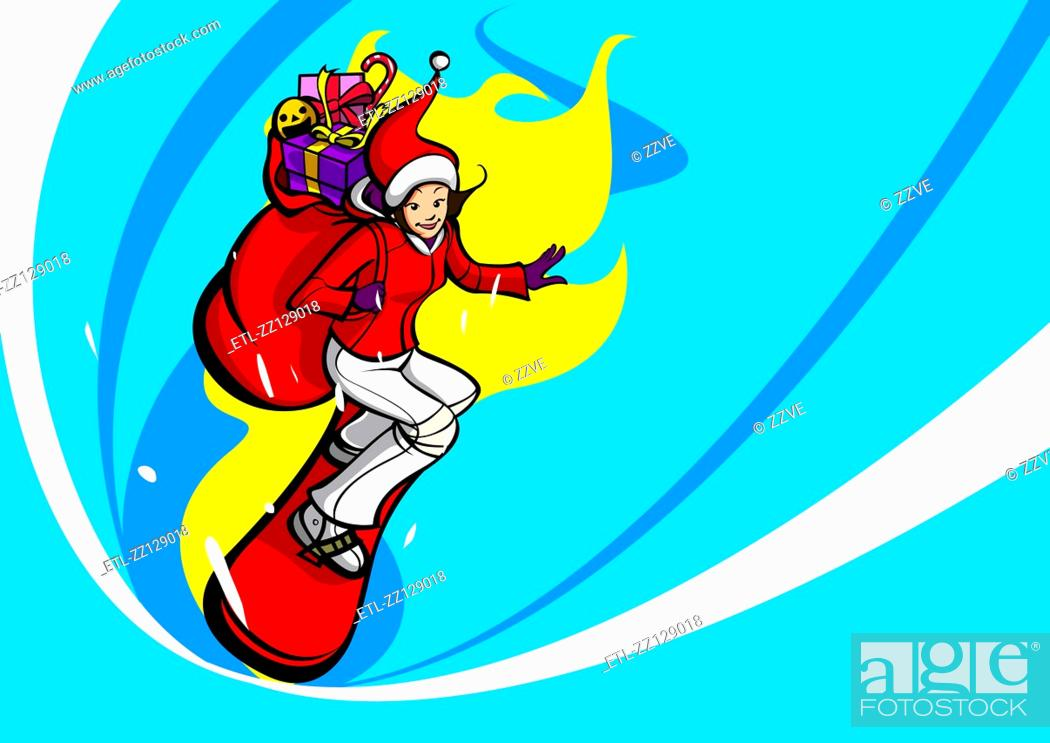 Stock Photo: Side profile of a woman in a Santa costume snowboarding with a sack of Christmas presents on her back.
