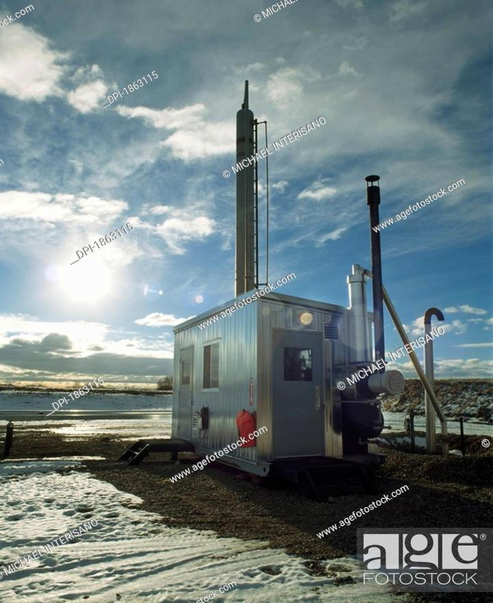Stock Photo: Compressor Station, Gas Plant, Alberta, Canada.