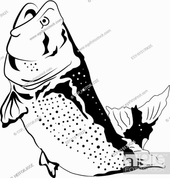 Vector: Big fish jumping.
