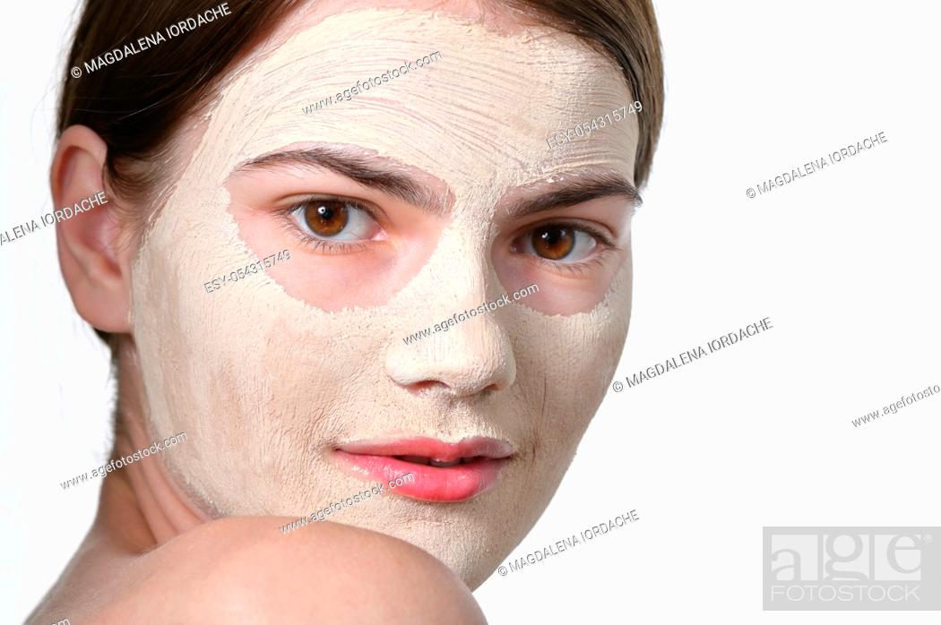 Stock Photo: Details of Young Woman With Facial Mask.