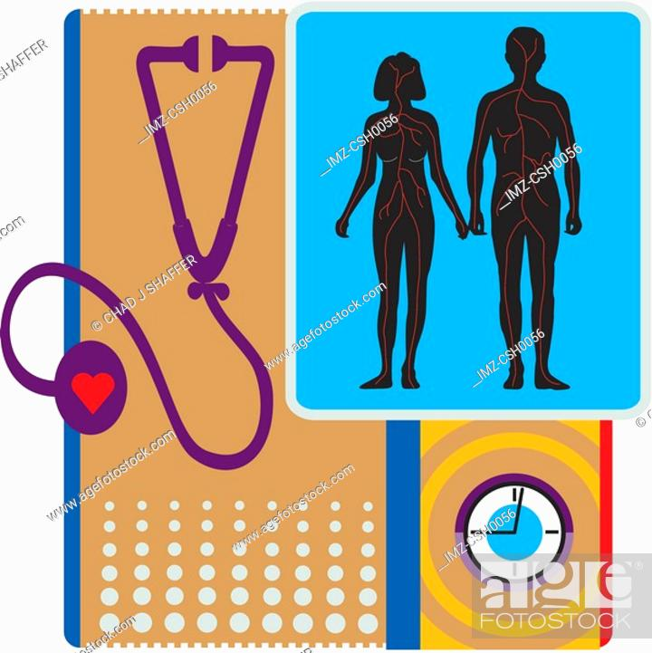 Stock Photo: A stethoscope and a couple representing heart health.
