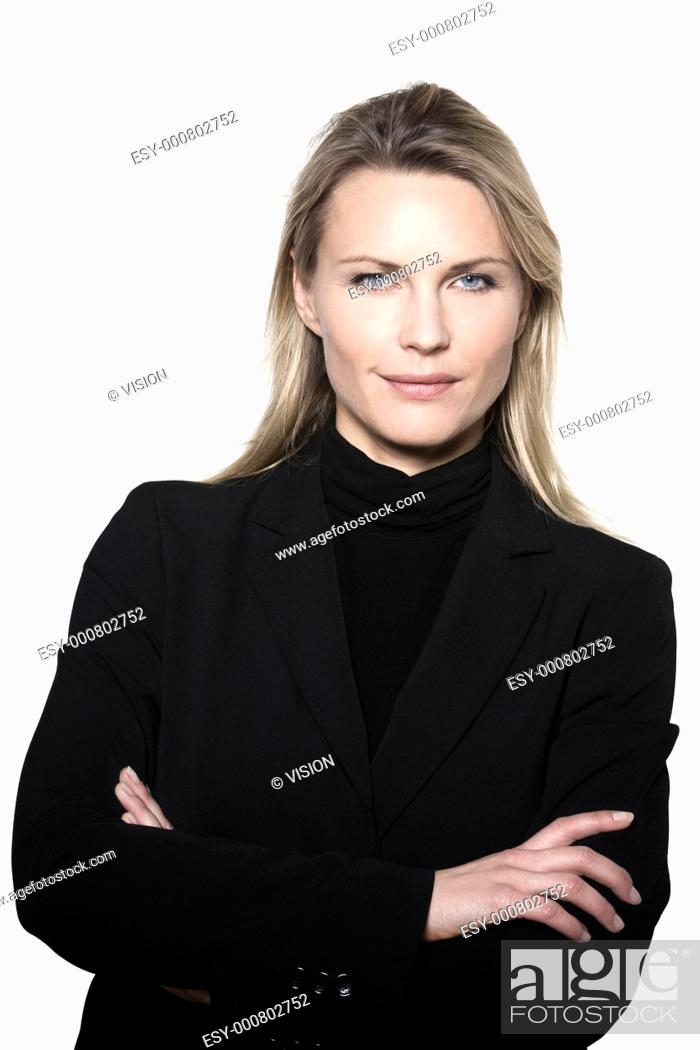 Stock Photo: beautiful blond hair woman smiling portrait on studio white isolated background.