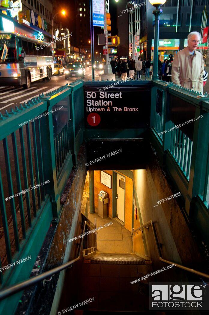Stock Photo: Stairs To 50 Street Subway Station In Manhattan, New York City, USA.