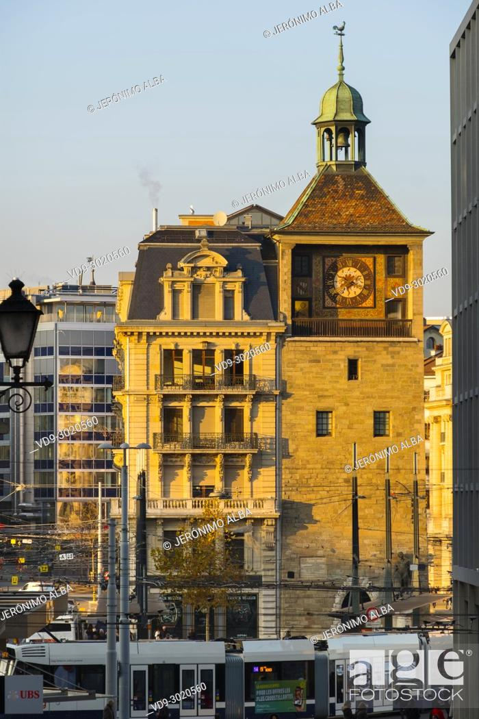 Imagen: Molard Tower Square. Bel Air. trams, buses, trolleybuses station. Old town, historic center. Geneva. Switzerland, Europe.
