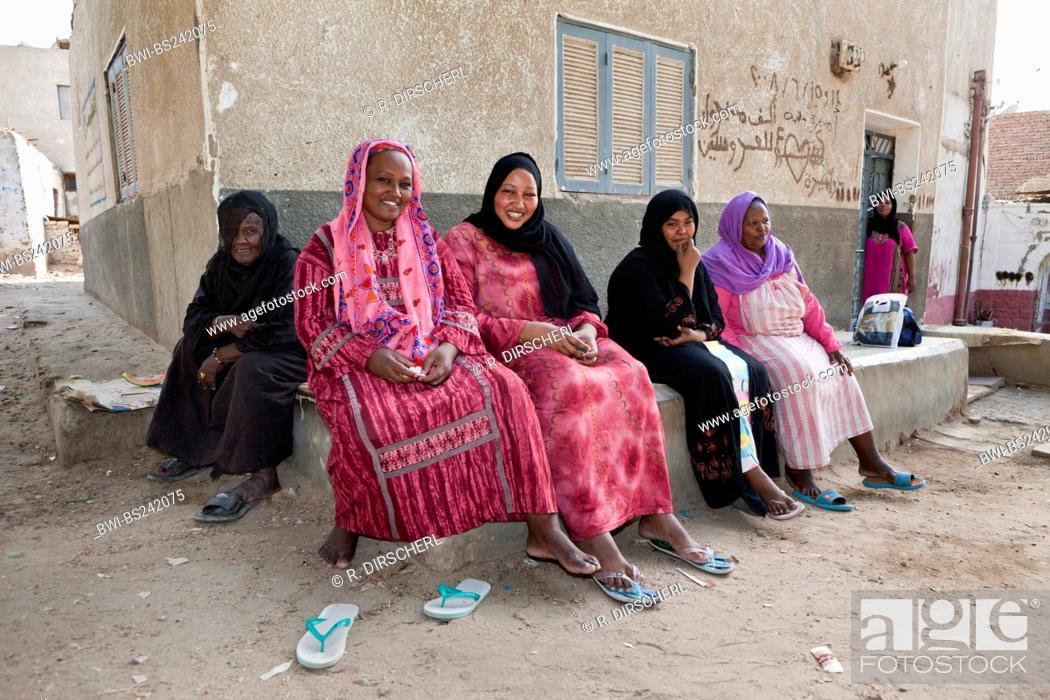 Stock Photo: Women of Nubian Village on Elephantine Island, Egypt, Assuan.