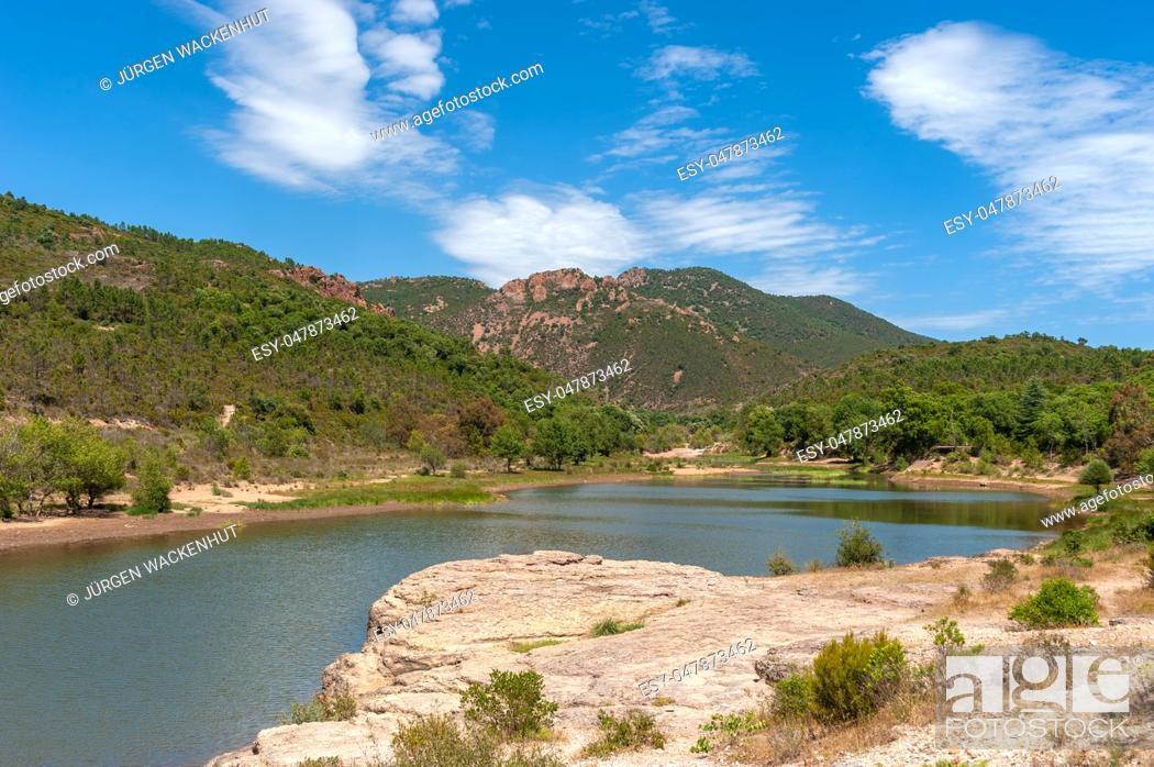 Stock Photo: Esterel massif, the lake Grenouillet in the gorge Grenouillet, Saint-Raphael, Var, Provence-Alpes-Cote d Azur, France, Europe.