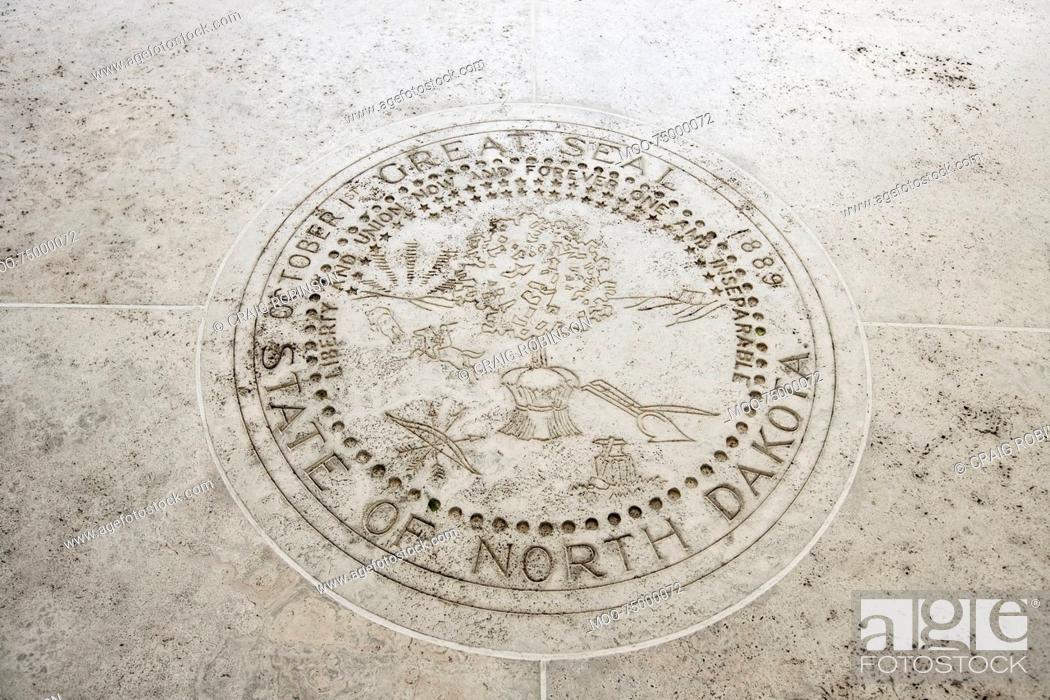 Stock Photo: Seal of North Dakota in Fort Bonifacio, Manila, Philippines.