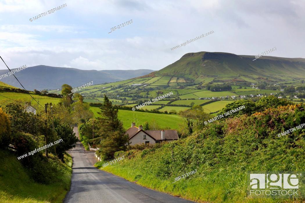 Stock Photo: Glenballyemon Valley near Cushendall, Glens of Antrim, County Antrim, Northern Ireland, United Kingdom, Europe.