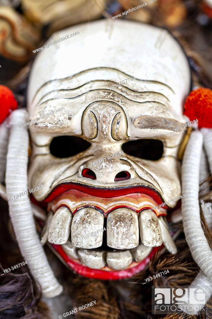 Stock Photo: A Mask Used In A Traditional Balinese Barong and Kris Dance Show, Batabulan, Bali, Indonesia.