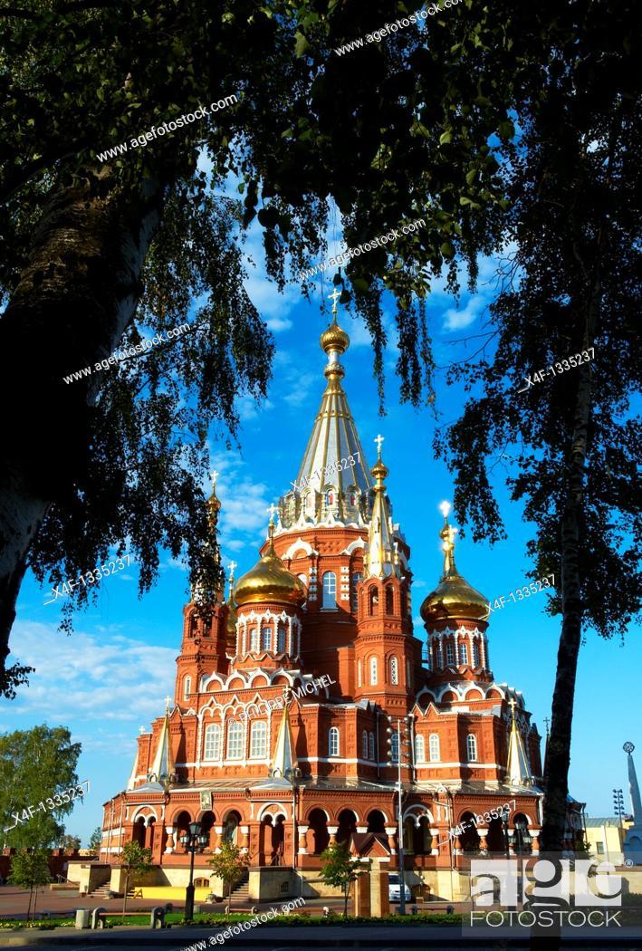 Stock Photo: Russia, Republic of Udmurtia, Izhevsk, birth of Mikhail Kalashnikov, St  Michael's Cathedral.