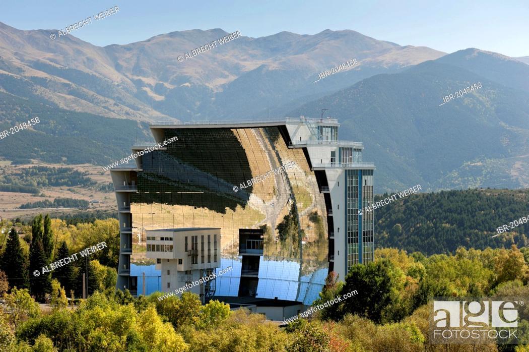 Stock Photo: Solar furnace, le Grand Four Solaire d'Odeillo, 1000 kW thermal power station, Font-Romeu-Odeillo-Via, Pyrénées-Orientales, Northern Catalonia, France, Europe.